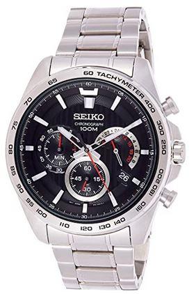 montre Seiko homme chronographe en argent acier