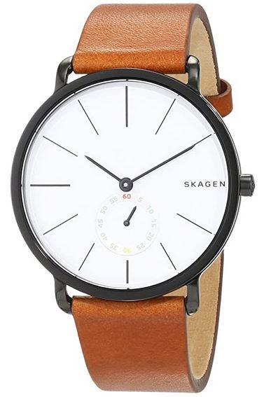 montre Skagen analogique pour homme avec bracelet en cuir marron SKW6216