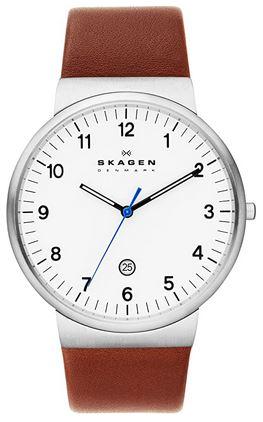 montre Skagen analogique pour homme avec bracelet en cuir marron et cadran blanc