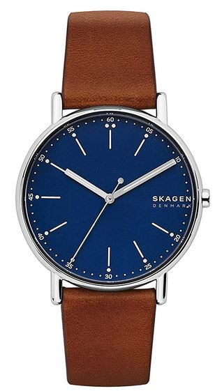 montre Skagen analogique pour homme avec cadran et bracelet en cuir marron
