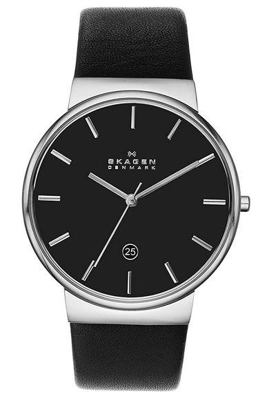montre Skagen analogique pour homme avec cadran noir et bracelet en cuir noir