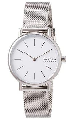 montre Skagen pour femme avec un cadran blanc et un bracelet en mailles milanaises couleur argent