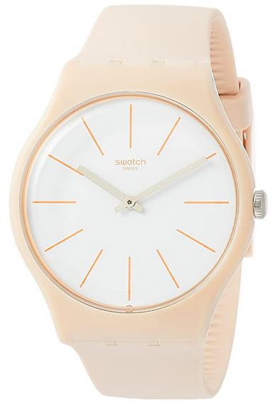 montre Swatch Beige et blanche avec bracelet en plastique pour femme