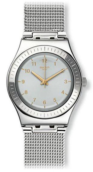 montre Swatch YLS187M pour femme bracelet en maille milanaise boitier et cadran argente