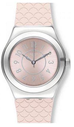 montre Swatch YLZ101 pour femme avec bracelet rose pale type ecaille