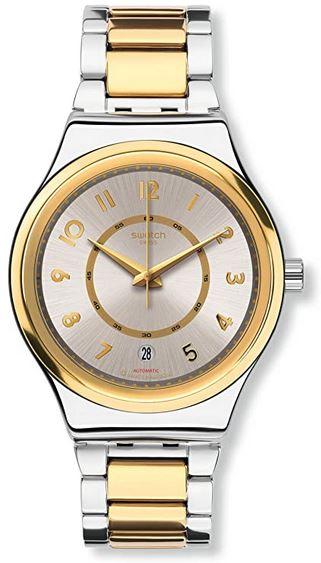 montre Swatch automatique pour femme couleur or et argent
