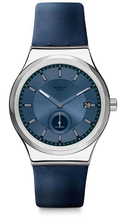 montre Swatch masculine bleue