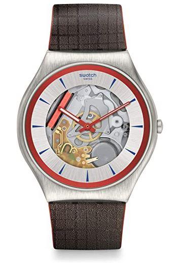 montre Swatch modele Irony Q James Bond pour homme avec bracelet en cuir quadrille