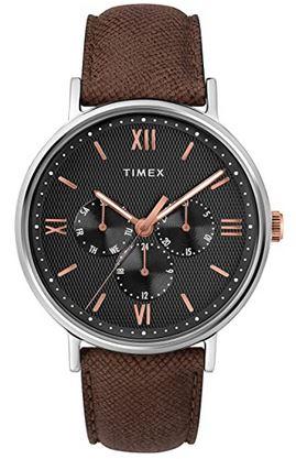 montre Timex homme chronographe noir avec bracelet en cuir lisse