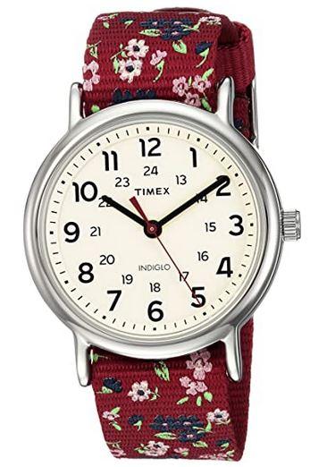 montre Timex pour femme avec bracelet en nylon rouge a motifs fleuri