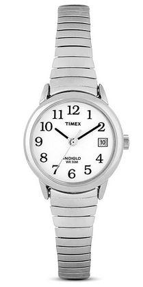 montre Timex pour femme modele T2H371 avec bracelet extensible en acier inoxydable couleur argent