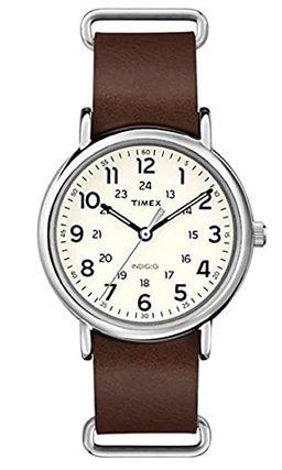 montre Timex unisex avec bracelet en cuir lisse marron