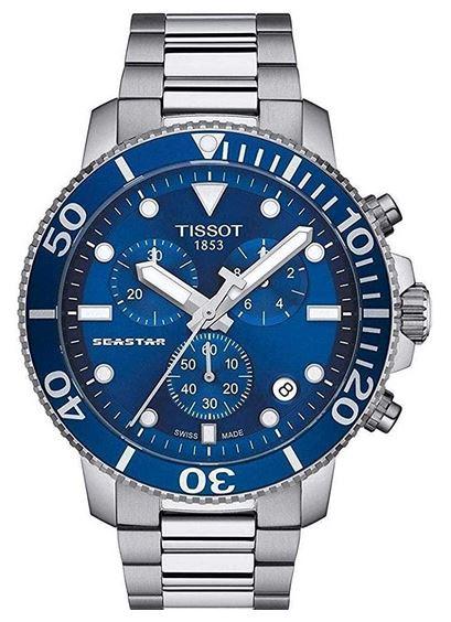 montre Tissot Seastar pour homme avec contour du boitier bleu