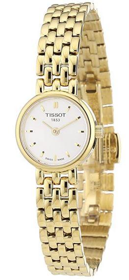 montre Tissot pour femme avec bracelet en acier couleur or et petit cadran blanc