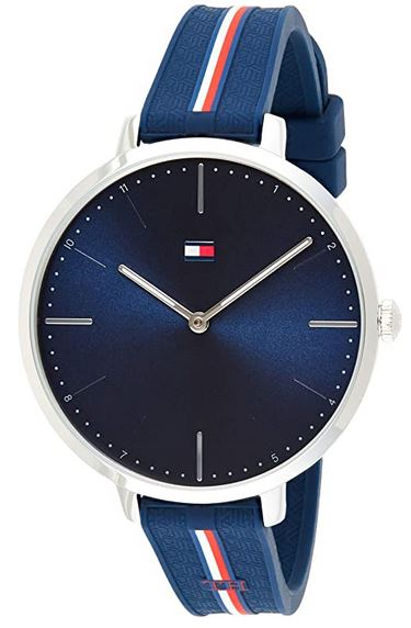 montre Tommy Hilfiger bleu avec bracelet en silicone pour femme