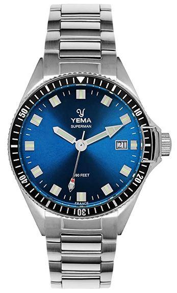 montre Yema modele superman en acier pour homme avec cadran bleu