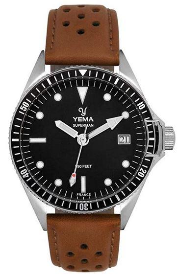 montre Yema pour homme avec bracelet en cuir marron