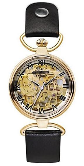 montre Zeppelin automatique 7459 5 pour femme avec bracelet en cuir noir et cadran squelette