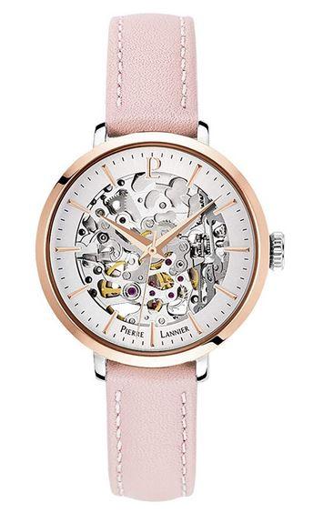 montre a mecanisme apparent Pierre Lannier pour femme avec bracelet de cuir rose clair