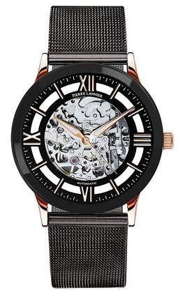 montre a mecanisme apparent Pierre Lannier pour homme avec bracelet en mailles noires fines