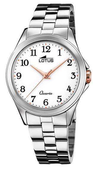 montre a quartz Lotus pour femme modele 18739 1 cadran blanc et bracelet en acier couleur argent