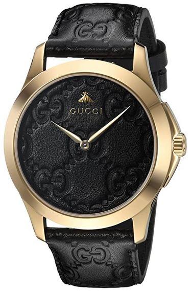 montre a quartz masculine Gucci YA1264034 en or et cuir noir