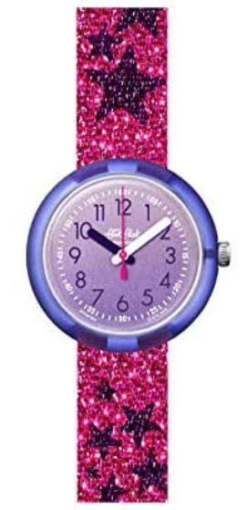 montre a quartz rose paillete de la marque Flik Flak