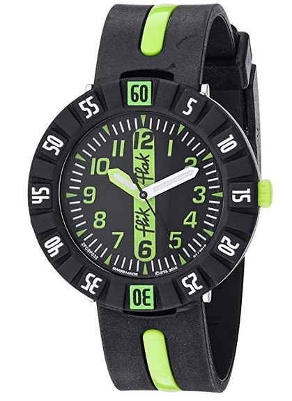 montre analogique Flik Flak destinee aux garcons modele FCSP032 noire et verte fluo