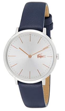 montre analogique Lacoste pour femme 2000986 avec bracelet en cuir bleu et cadran argente