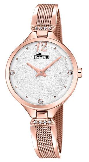 montre analogique Lotus pour femme avec bracelet fin rose gold et cadran blanc nacre