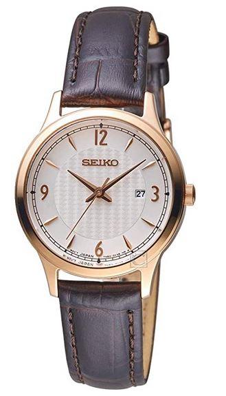 montre analogique Seiko femme avec bracelet en cuir et boitier dore