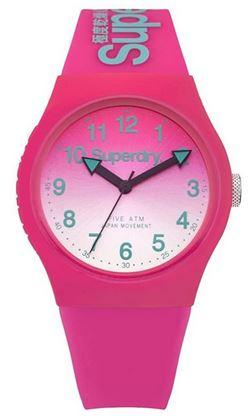 montre analogique a quartz de couleur rose marque Superdry