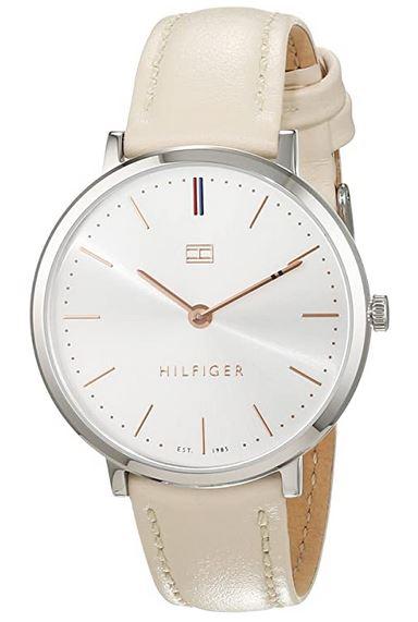 montre analogique a quartz pour femme avec bracelet en cuir beige de Tommy Hilfiger