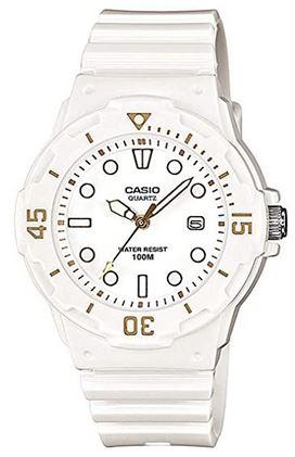 montre analogique blanche pour femme de Casio modele LRW 200H bracelet blanc en resine