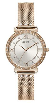 montre analogique doree Guess avec cadran gris et bracelet couleur or en acier