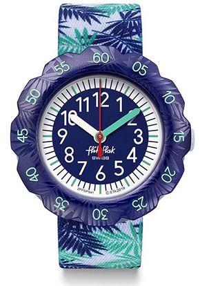 montre analogique garcon marque Flik Flak bleue et verte avec motifs de plantes