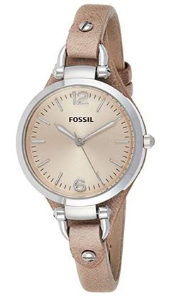 montre analogique marron et beige de la marque Fossil pour femme