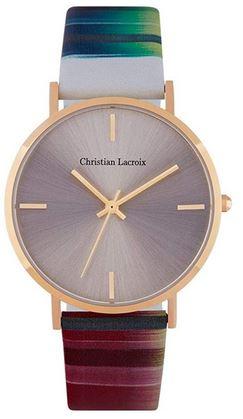 montre analogique pour femme de Christian Lacroix avec bracelet multicolor en cuir