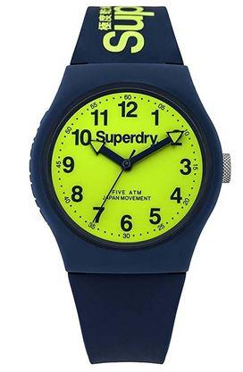 montre analogique pour garcon et adolescent Superdry jaune et bleu