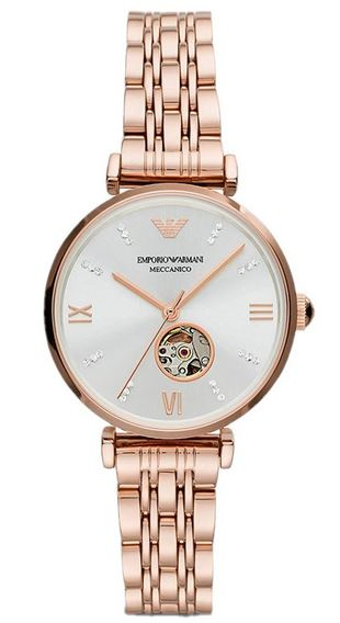 montre automatique pour femme Emporio Armani modele Gianni T Bar en or rose