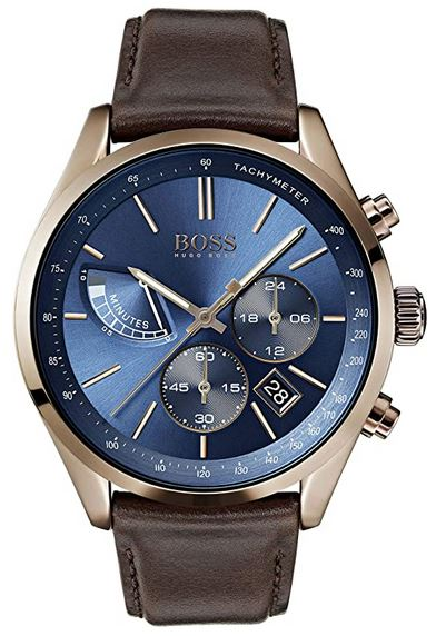 montre bleu Hugo Boss homme cadran bleu chronographe bracelet cuir marron 1513604