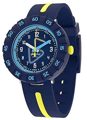 montre bleue et jaune de la marque Flik Flak pour garcon
