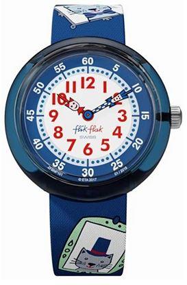 montre bleue marque Flik Flak pour fille avec motifs de chats imprimes sur un bracelet en tissu