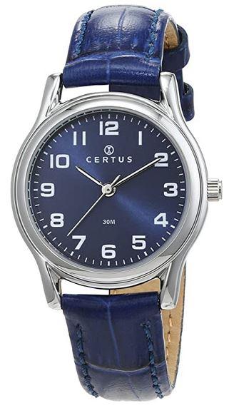 montre certus pour femme de couleur bleue avec bracelet en cuir bleu