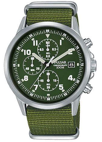 montre chronogrape militaire vert Pulsar