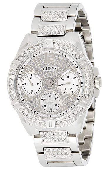 montre chronographe Guess pour femme en acier inoxydable couleur argent avec pierres incrustees