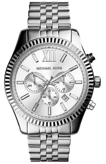 montre chronographe argentee pour homme de la marque Michael Kors