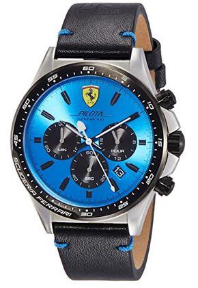 montre chronographe bleue avec son bracelet en cuir noir lisse