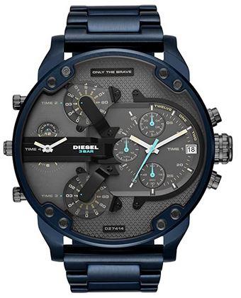 montre chronographe bleue de la marque Diesel pour homme