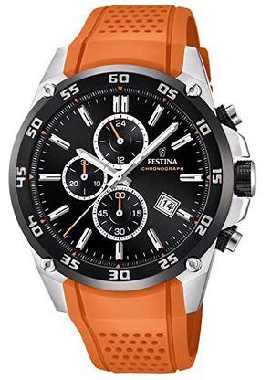 montre chronographe masculin de marque Festina avec bracelet orange